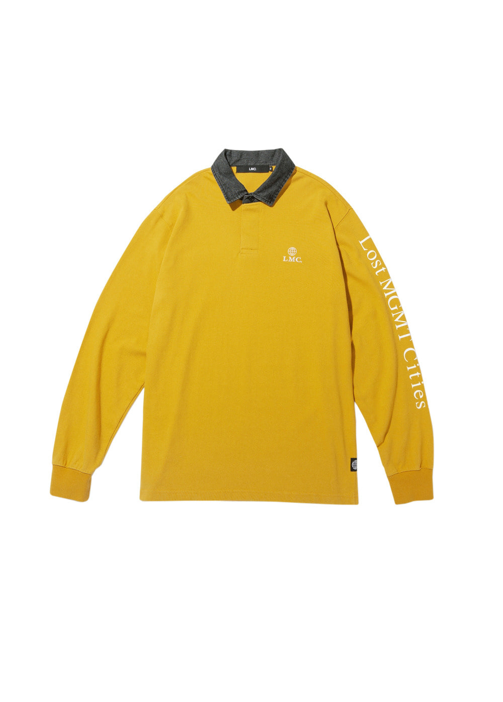 LMC DENIM COLLAR RUGBY LONG SLV TEE yellow